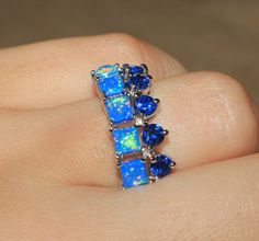 blue fire opal topaz ring silver jewelry Sz 7 modern engagement wedding band Z01 #Cocktail