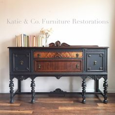 23 Ideas Refurbished Furniture Black Buffet For 2019 Chalk Paint Furniture, Black Furniture, Furniture Projects, Vintage Furniture, Furniture Decor, Furniture Stores, Furniture Companies, Cheap Furniture, Pallet Furniture