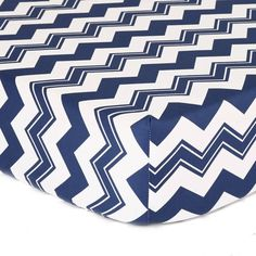 product image for The Peanut Shell® Chevron Fitted Crib Sheet in White/Navy