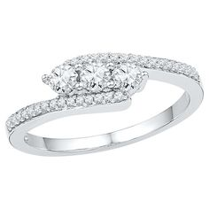 1/2 CT. T.W. Round Diamond Prong Set Promise Ring in Sterling Silver (