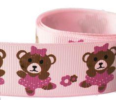 "5 Yds Pink Teddy Bear Ballerina Print Grosgrain Ribbon  - 1"" (130393)"