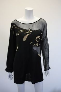 Rare Vintage KRIZIA MAGLIA Panther Print Knit Sweater - Rice and Beans Vintage