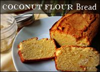 """Coconut flour """"bread"""". I added about 1/4-1/3 coconut water to the recipe, since it seemed too dry. Turned out pretty well."""
