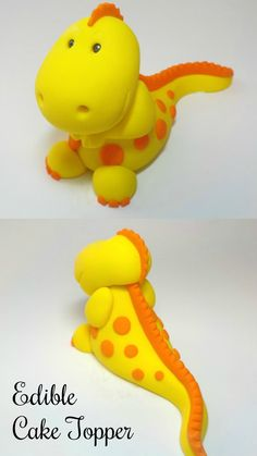 Baby T-Rex Dinosaur Fondant Cake Topper with Spots Spikes #ad #Etsy #Cakedecorating #caketopper