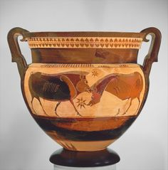 Terracotta volute-krater (vase for mixing wine and water) Attributed to Sophilos. Period: Archaic, early 6th century B.C. - Greek, Attic