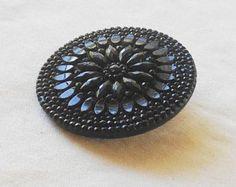 31mm antique Victorian ornate large black glass button, vintage estate sale find