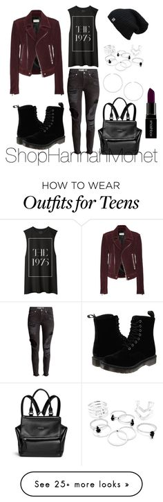 """90's Grunge"" by shophannahmonet-1 on Polyvore featuring Dr. Martens, Balenciaga, Topshop, Givenchy, Smashbox, women's clothing, women, female, woman and misses"