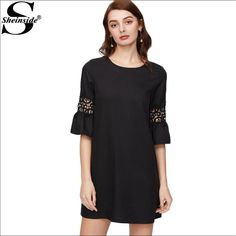 Online shopping for Crochet Insert Ruffle Sleeve Buttoned Keyhole Back  Tunic Dress from a great selection of women s fashion clothing   more at  MakeMeChic. 5c3b12f39aae4