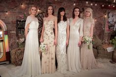 Models pose wearing a look from the Jenny Packham Bridal Spring/Summer 2017 Presentation at Jenny Packham Showroom on April 15, 2016 in New York City.