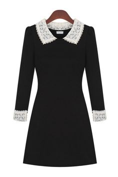 Lace Paneled Peter Pan Collar Dress - OASAP.com
