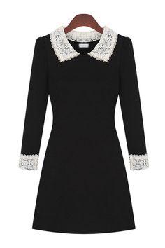 Lace Paneled Peter Pan Collar Dress - OASAP.com