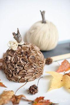 DIY brown Kraft paper pumpkins
