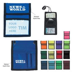 This neck wallet badge holder includes a clear plastic badge window, outside business card pocket and 2 pen loops, inside zippered compartment and black breakaway safety neck cord, and black trim.  These neck wallet badge holders are a great promotional product for any trade show, seminar, or conference.