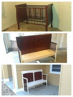 DIY crib repurpose. Bench.