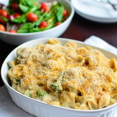 A healthier spin on mac and cheese using a pureed cauliflower and yogurt sauce for the cheese base.