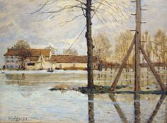 """Alfred Sisley at the First Impressionist """"Exposition de 1874"""" shown at the studio of Nadar. One of the last paintings in the show """"Ferry to the Ile-de-la-Loge, Flood"""" painted in 1872"""