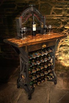 "Antike Weinregale, ""The Henley"" Victorian Mangle Wine Rack & Table. Antike Weinregale, ""The Henley"" Victorian Mangle Wine Rack & Table. Sewing Machine Tables, Old Sewing Machines, Sewing Table, Wine Storage, Storage Rack, Storage Ideas, Tasting Table, Wine Tasting, Industrial Wine Racks"