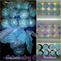 """Tiffany Blue customized Pink Moscato Cakepop Boucake and coordinating CBC Jrs in White Chocolate Raspberry, Red Velvet, and Strawberry Cheesecake. #cakebabycupcakes #cupcakes #custom #Atlanta #Delivery #cakepops #birthday"""