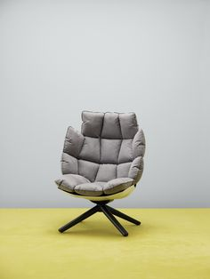 B&B Italia Husk armchair in upholstery textile Waterborn design by Patricia Urquiola. Waterborn is a groundbreaking sustainable microfibre textile designed by Aggebo & Henriksen, which makes much less of an impact on the environment than conventionally produced microfibre fabrics.