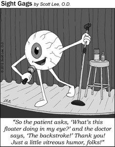 Eye telling a joke, floater, cornea and cornea