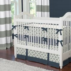 Navy and Gray Quatrefoil Crib Bedding #carouseldesigns