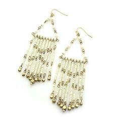 "Beaded Dangle Earrings; 4.5"" Drop; Gold Metal; Gold and cream beads; Eileen's Collection. $19.99"