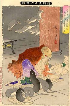 Tsukioka Yoshitoshi (1891) Priest Raigo of Mii Temple Transformed by Wicked Thoughts into a Rat. Print #25 from the 36 Ghosts series. Relief color woodblock print on paper.