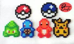 Pokemon Perler Magnets Badges by DangoCrafts on Etsy