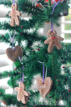 Gingerbread clay tree ornaments from The Imagination Tree