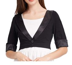Features: Elastic, Half length sleeves, Contrast satin fabric, Two functional buttons in the front, Chic and Classic Cropped Bolero Shrug, Prefect for Sleeveless Shirts, Dress or Camisole Tank Tops