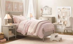 [Bedroom] Lovely Romantic Chic Bedroom Inspirations: Extraordinary Pink Bedroom Design With Grey Upholstered Girls Bed, White Pagoda Bed Lamp Shade, White Wooden Two Step Stair And White Wall Mount Sign Board Teen Girl Bedrooms, Little Girl Rooms, Pink Bedrooms, Small Bedrooms, Teen Bedroom, Restoration Hardware Bedroom, Princess Room, My New Room, Bedroom Decor