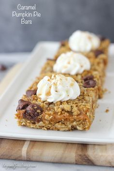 These gooey Caramel Pumpkin Pie Bars layered with a brown sugar oatmeal crust, pumpkin caramel filling and caramel filled chocolate chips. Pumpkin Pie Bars, Pumpkin Dessert, Pumpkin Cheesecake, Pumpkin Pies, Cake Bars, Dessert Bars, Fall Baking, Holiday Baking, Fall Desserts