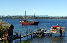 """Puerto Varas, Llanquihue Lake. """"Captain Haase"""", a sailing-motor boat was built in 1999 using native woods. It is a replica of the old ships used by the German settlers between 1846 and 1954. Vessels like the """"Captain Haase"""" were once the only means of transport in Lake Llanquihue between the towns of Puerto Varas, Puerto Octay and Frutillar."""