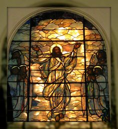 Christ Ascending into Heaven Stained Glass Window by Louis Comfort Tiffany. Now in Hillis Hall, Plymouth Church, Brooklyn Heights, NY
