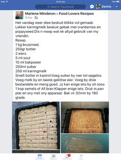 Baking Recipes, Cake Recipes, Dessert Recipes, Baked Bean Recipes, Sweet Recipes, Rusk Recipe, South African Recipes, Quick Snacks, Healthy Meals For Kids