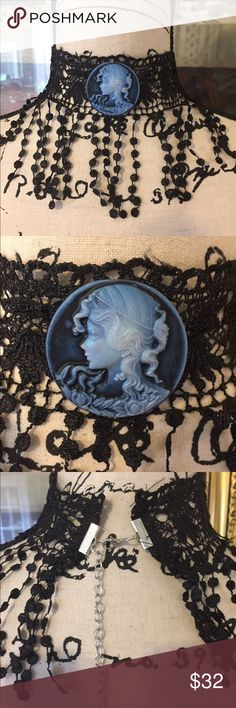 Handcrafted Black Lace Cameo Choker i have started making these and just love cameos and found some of this beautiful lace. Hope to be making several extender chain added. Lace portion measures 12 1/2 inches and extender is 3 inches. Jewelry Necklaces