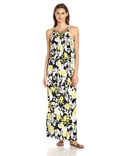 MSK Womens Chain Neck Long Maxi Dress IvoryNavyLime Medium >>> Click image to review more details.