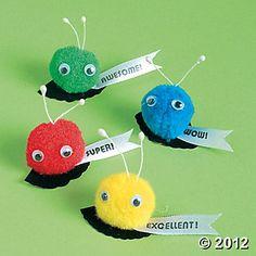 School Pom-Pom Critters for positive reinforcement.