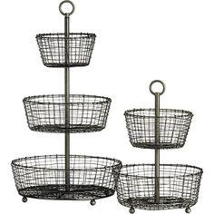 Rustic 2-Tier Fruit Basket | Crate and Barrel