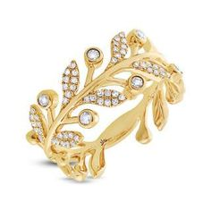 0.24ct 14k Yellow Gold Diamond Leaf Ring