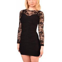Sexy Mini Stretch Kleid mit Spitze und langen Ärmeln