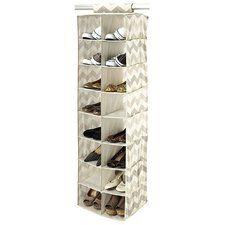 Textured Chevron 16-Compartment Hanging Shoe Organizer