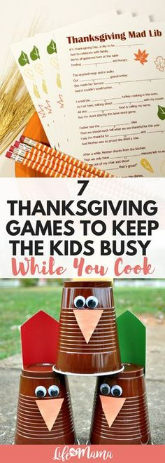 These will keep kids (and guests!) happy, while I can get down to business in the kitchen. Check out this list of fun Thanksgiving games to keep everyone busy and having fun. #thankgivinggames #thanksgiving #gamesforkids