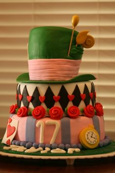 Alice in Wonderland Mad Hatter Birthday Cake By Mommy2KnK on CakeCentral.com