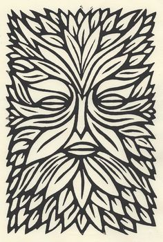 Alan Rogerson's original 'green man' linocut, which was used in a book cover design by Mark Ecob for Paul Kingsnorth's award winning book The Wake