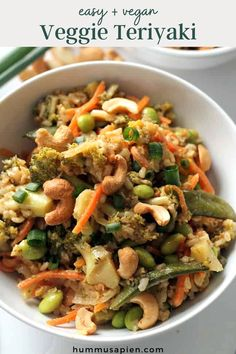 This vegetable stir fry with teriyaki sauce is a healthy and delicious vegan dinner idea that's on the table in thirty minutes! Makes even better leftovers. Healthy Vegetarian Meal Plan, Vegetarian Recipes, Healthy Eating, Veggie Recipes, Wok Recipes, Healthy Food, Eating Vegan, Veggie Meals, Healthy Lunches