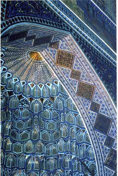 archway of Bibi-Khanym Mosque, Samarkand, Uzbekistan Islamic Architecture, Beautiful Architecture, Art And Architecture, Architecture Details, Beautiful Mosques, Beautiful Places, Magic Places, Islamic Patterns, Tile Patterns