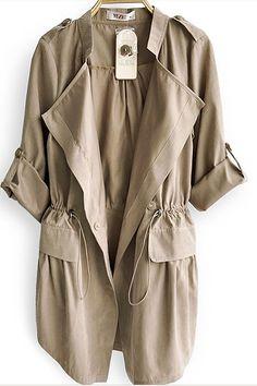 Khaki Drape Collar Pockets Long Sleeve Drawstring Outerwear