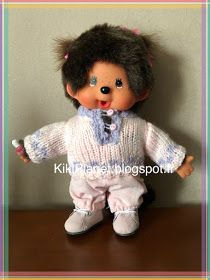 pull jacquard rose fait main pour Kiki ou Monchhichi, handmade, tricot, vêtements, poupées, vintage