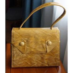 Retro Mod Vintage Purse Handbag Vinyl variegated yellow tan, 50s,60s... ($34) ❤ liked on Polyvore featuring bags, handbags, vintage handbags purses, handbag purse, tan purse, vintage hand bags and yellow hand bags